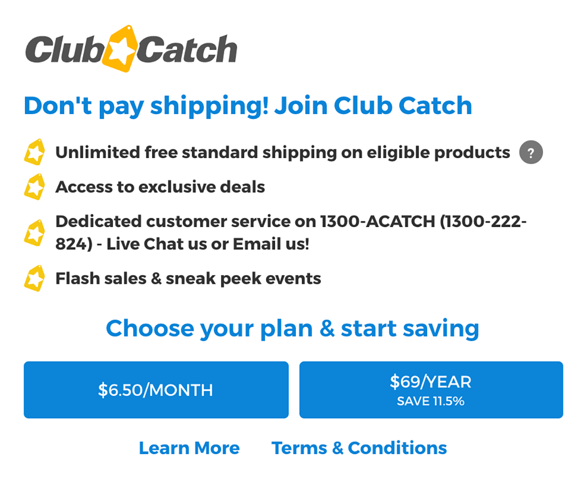 Catch Club Promoted in Shopping Cart