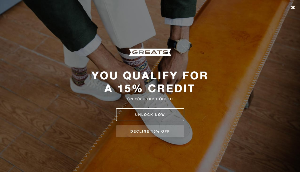 Page Takeover Discount Opt-in