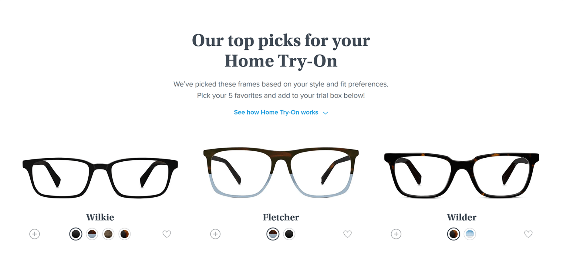 Warby Parker Personalised Recommendations