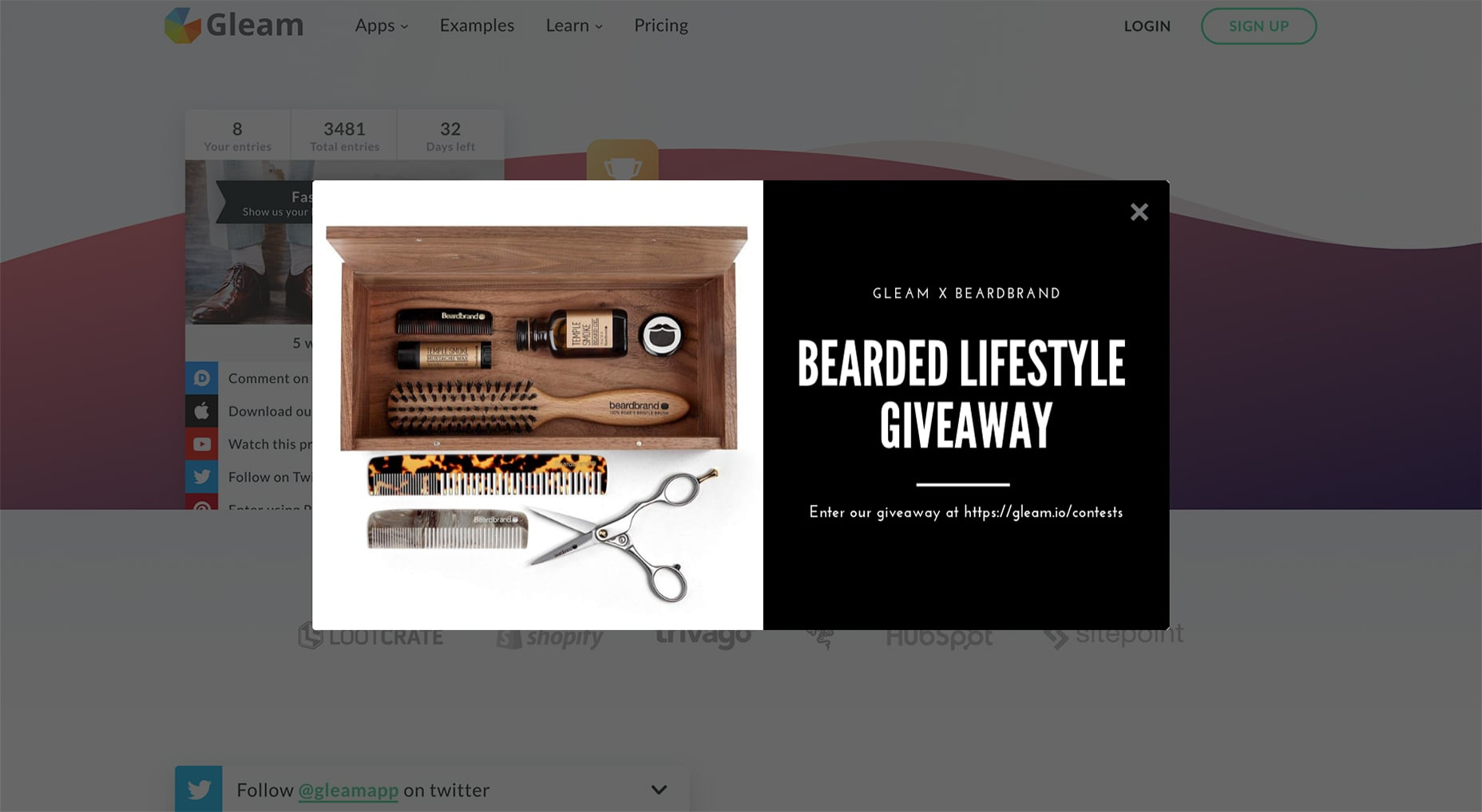 Use Gleam Capture to promote giveaway on your website