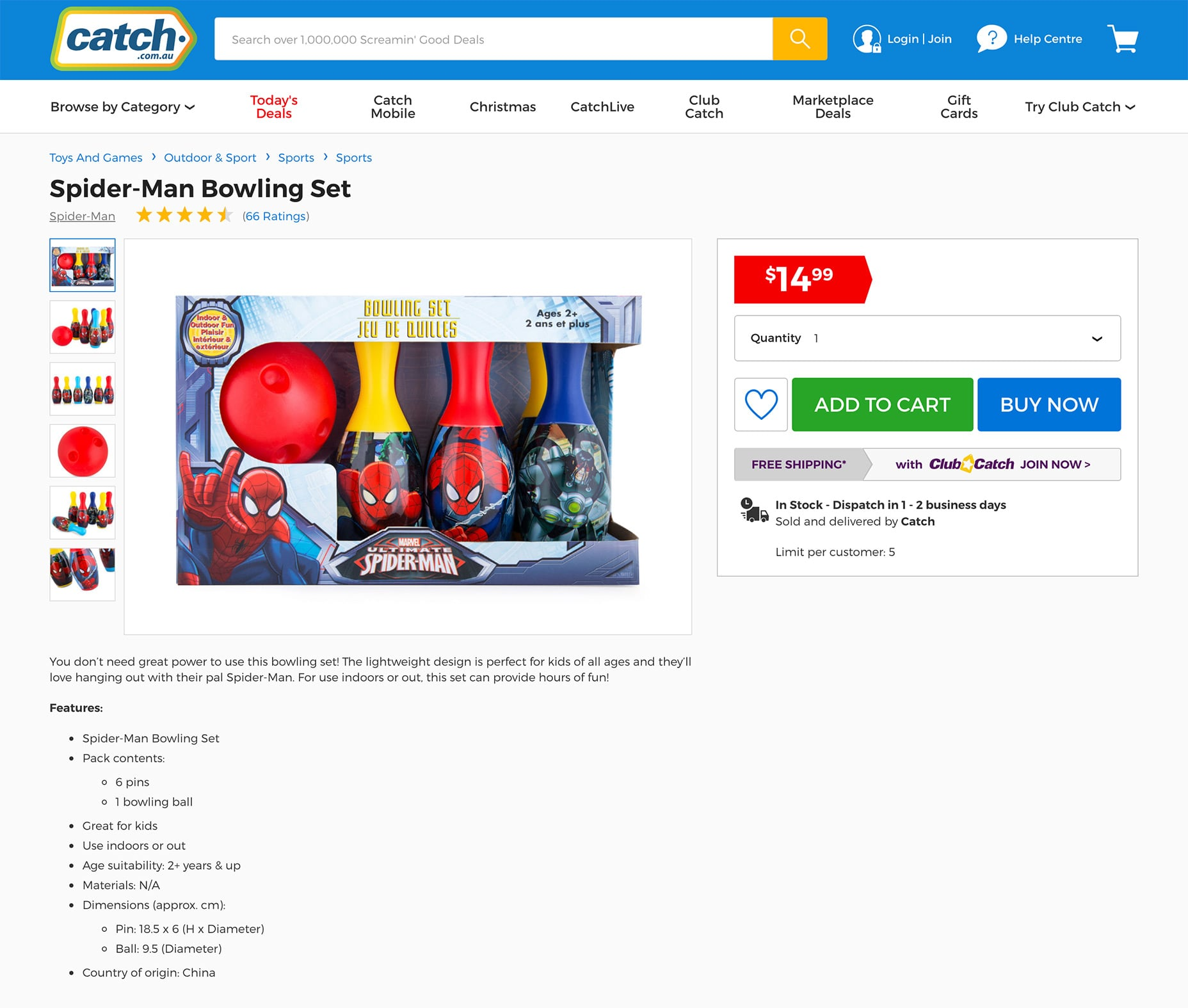 Catch Spider-Man Bowling Set Product Page