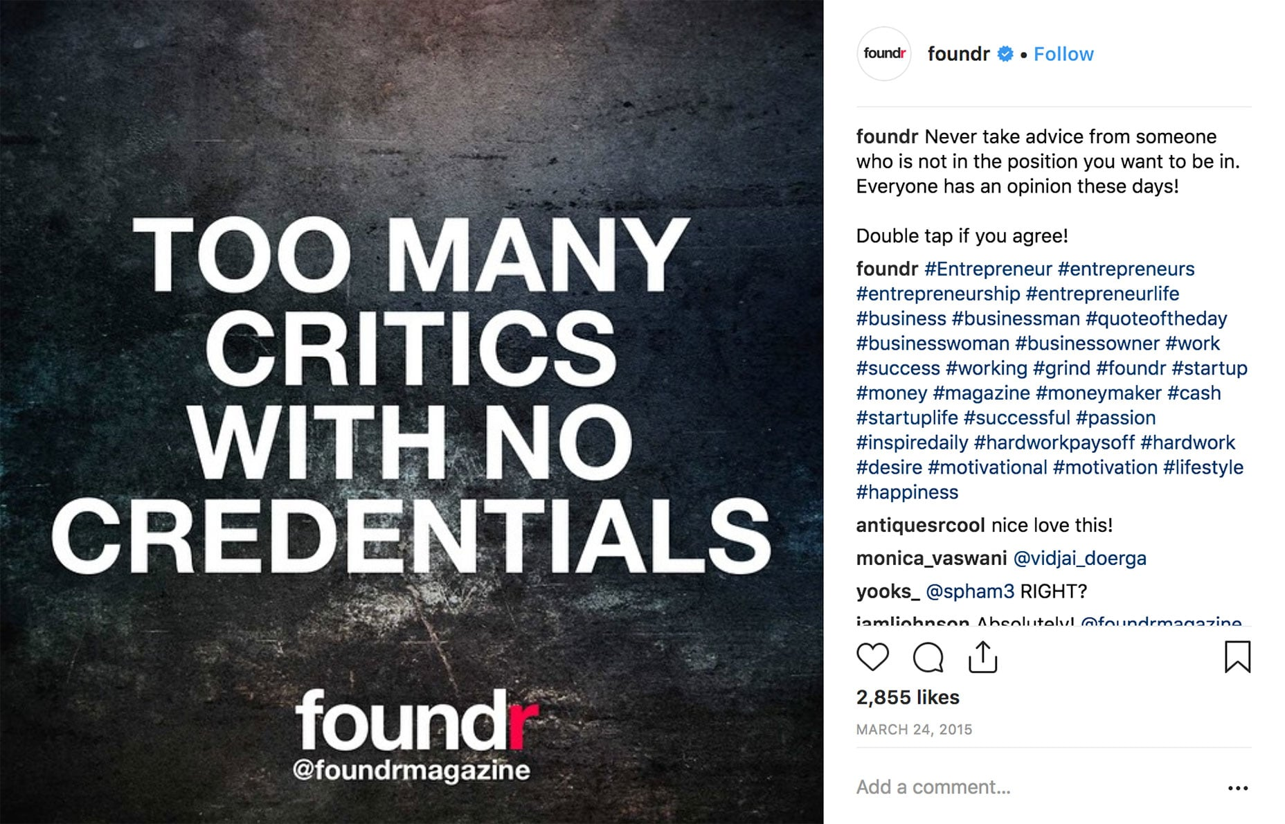 Foundr Uses Hashtags in Comments