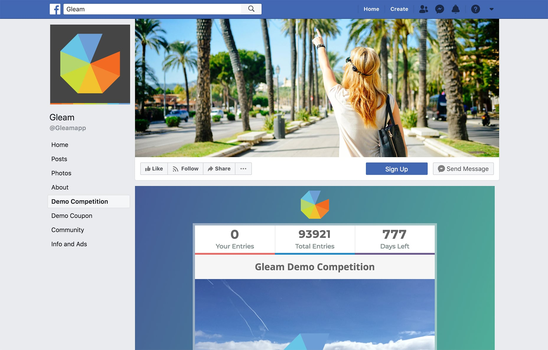 Gleam Giveaway in Facebook Tab
