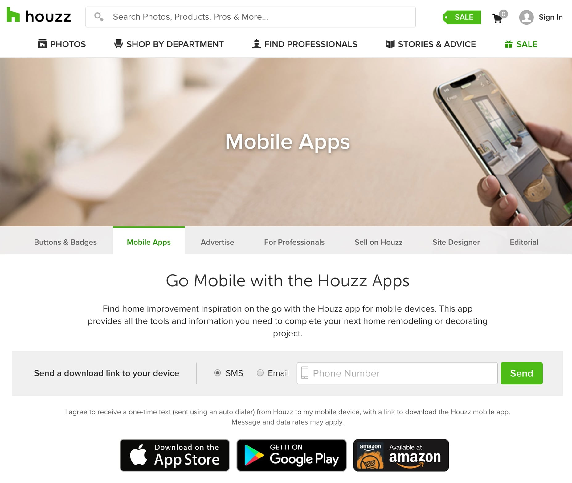 Houzz Mobile App Page