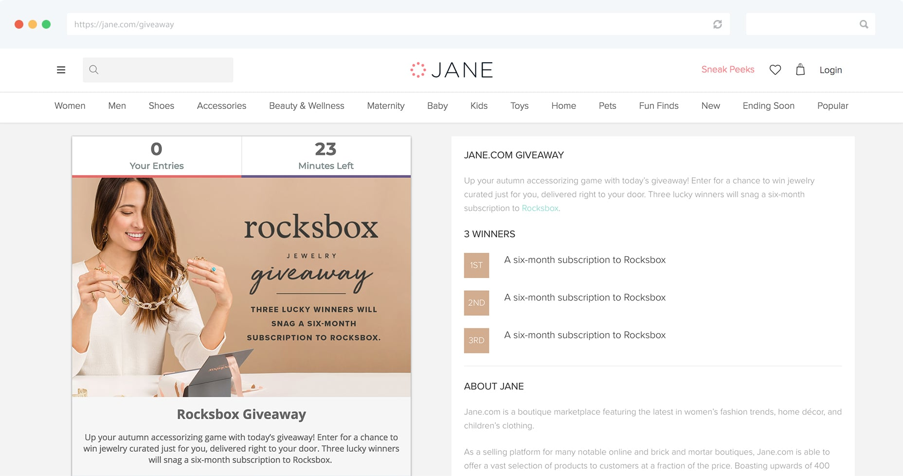 Jane.com has a dedicated landing page for their Gleam Giveaways