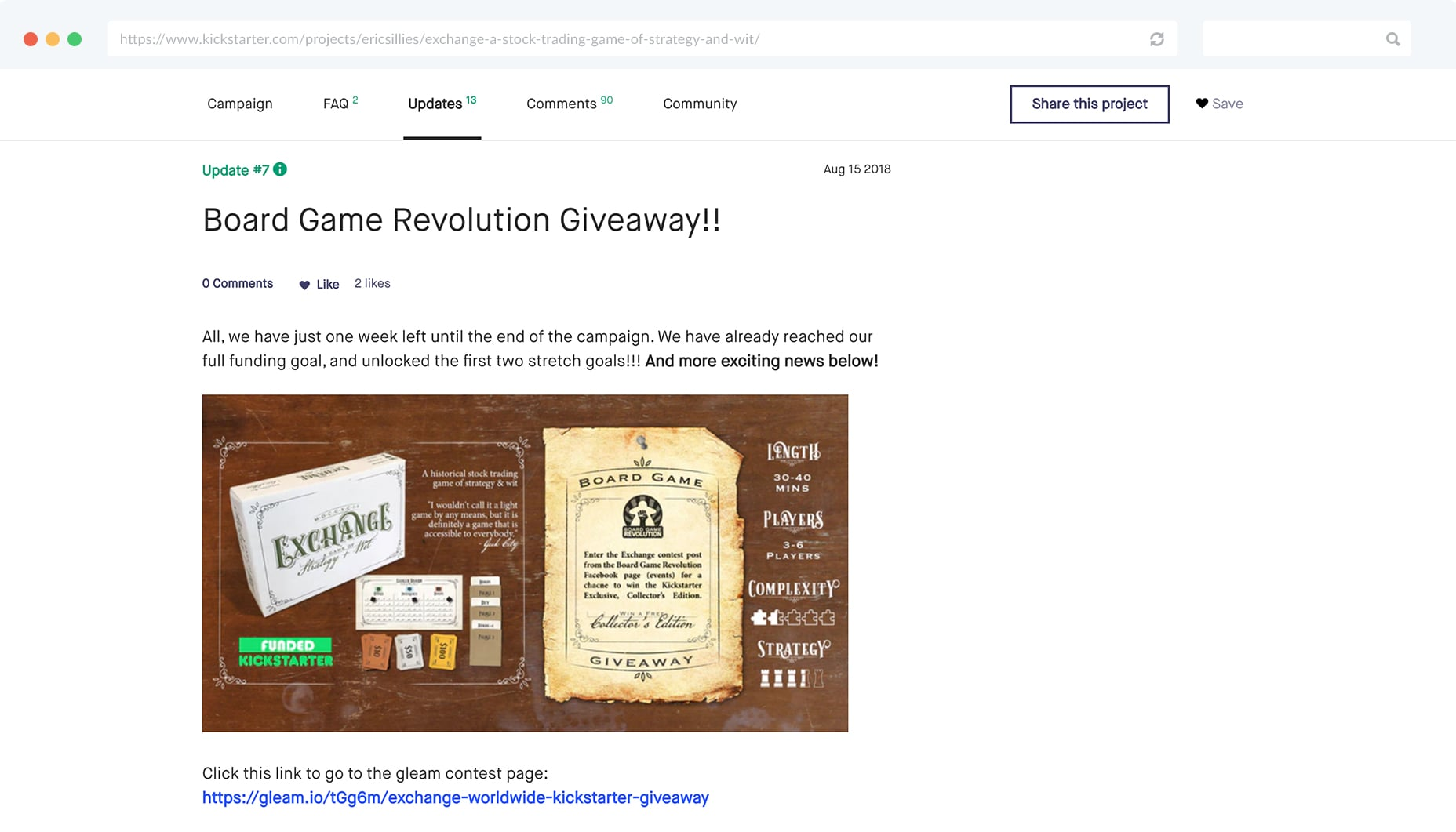 Link to Gleam Giveaway From Kickstarter