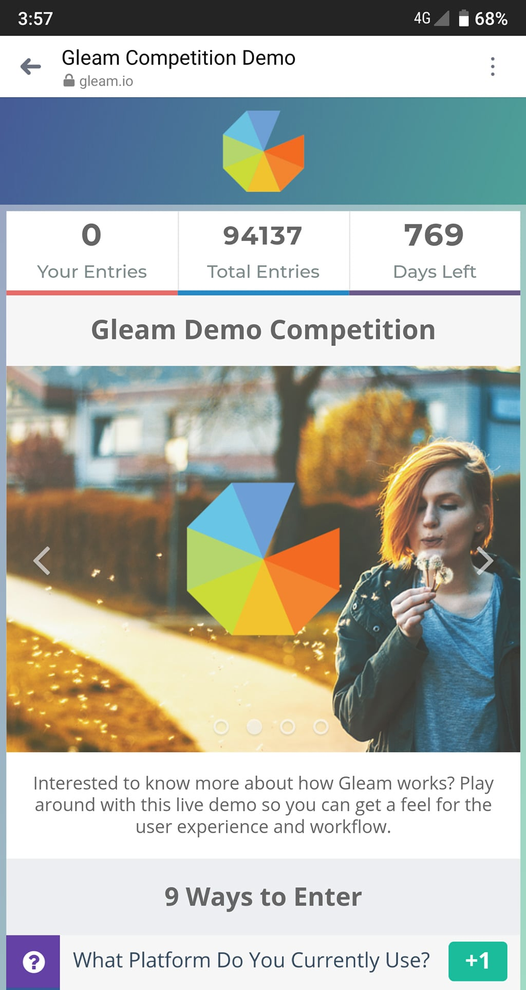 Gleam Competitions are optimised for mobile devices
