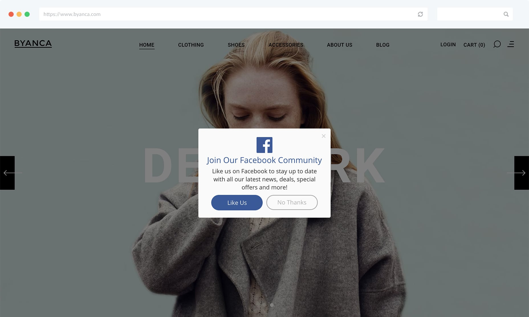 Ask Website Visitors to Like You On Facebook