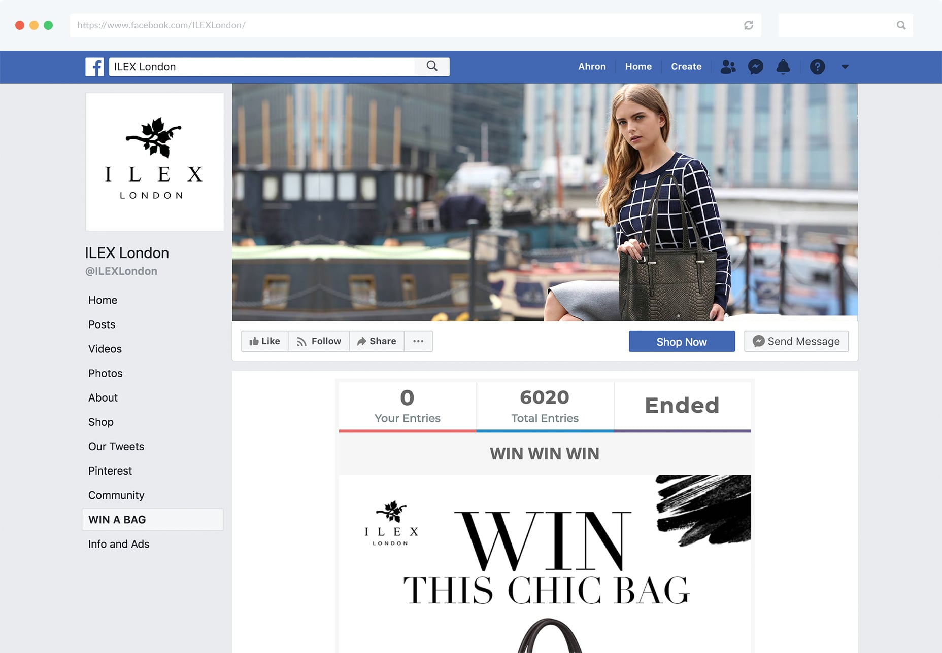 Gleam Competitions can be run inside a Facebook tab