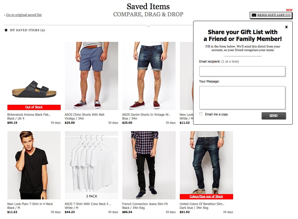 Email Shopping Cart