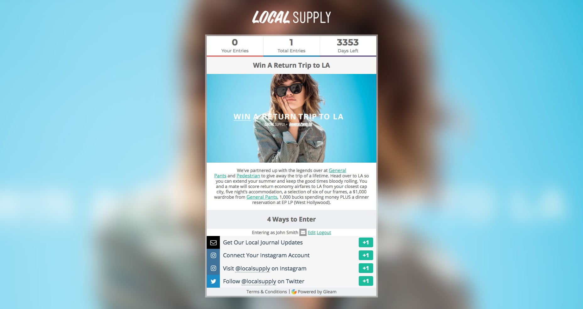 Run Gleam Giveaways For Your Blog in a Hosted Landing Page