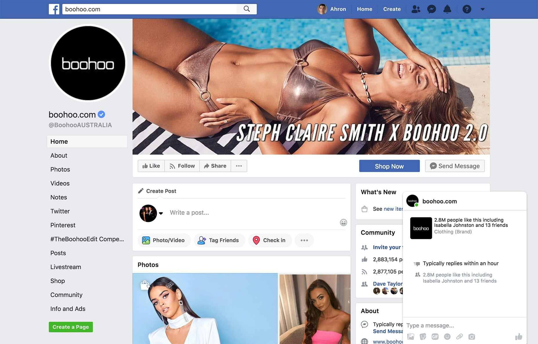 Boohoo encourages customers to message them on Facebook