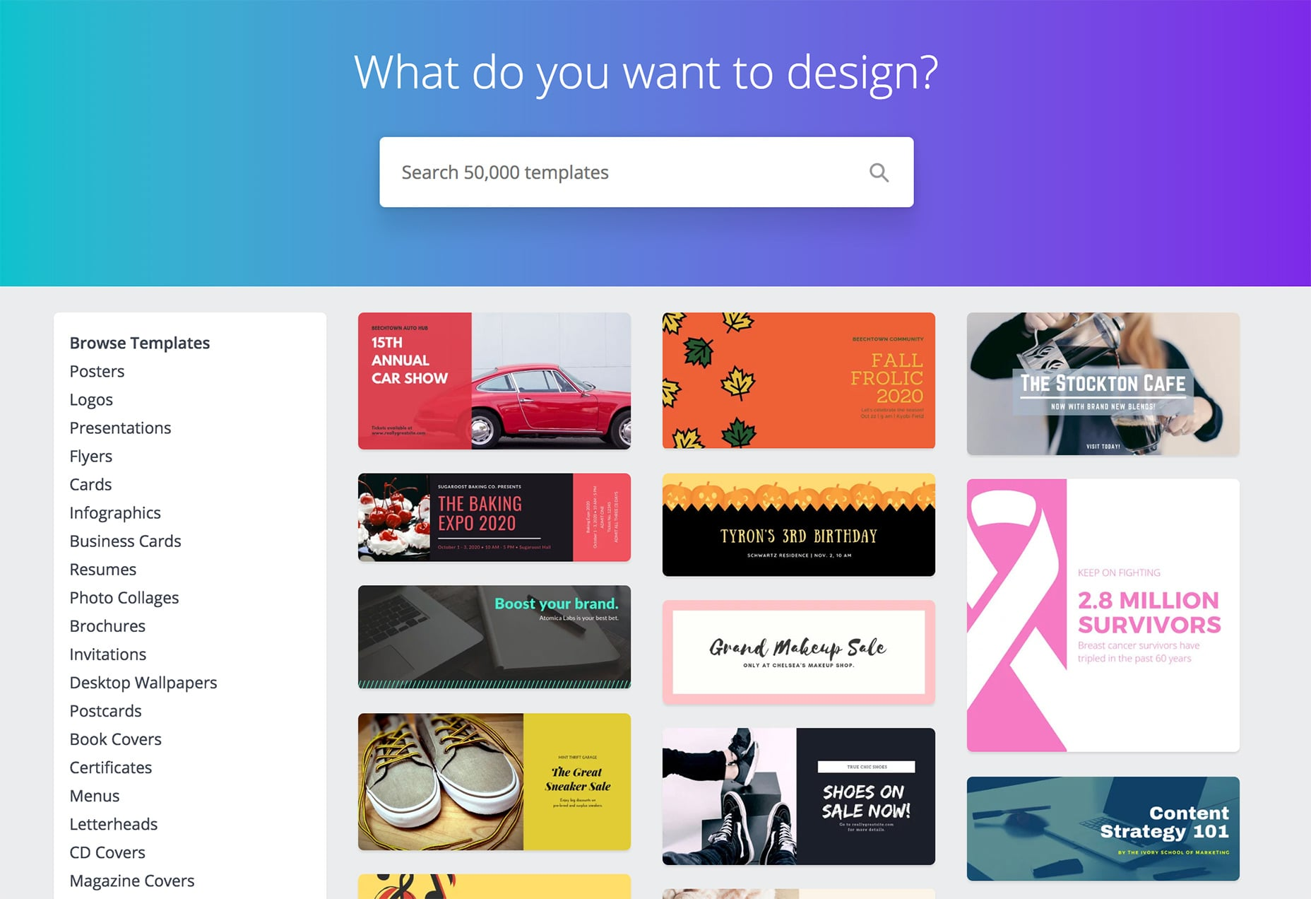 Canva templates page