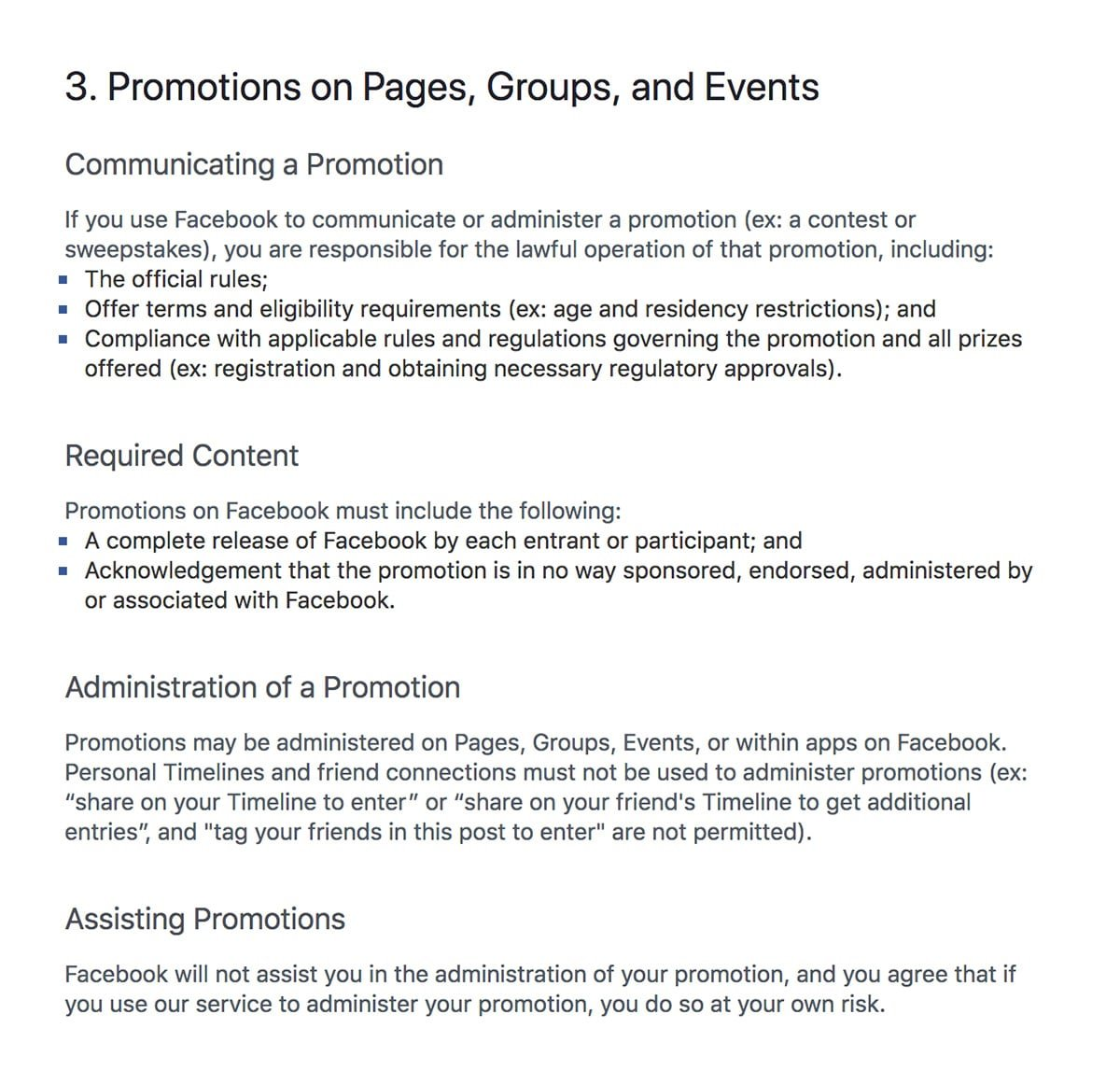 Facebook's Promotional Guidelines