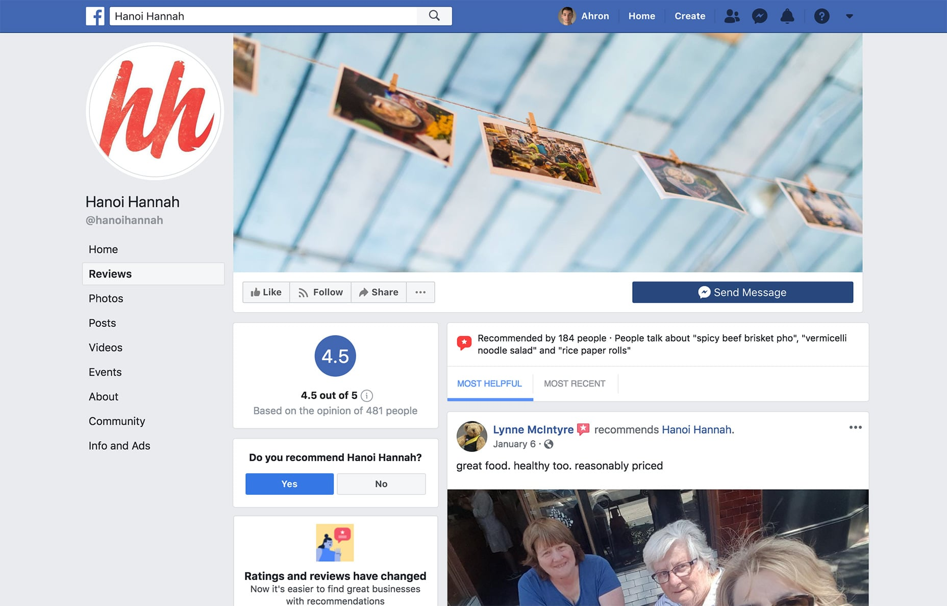 Use your Facebook page to showcase reviews