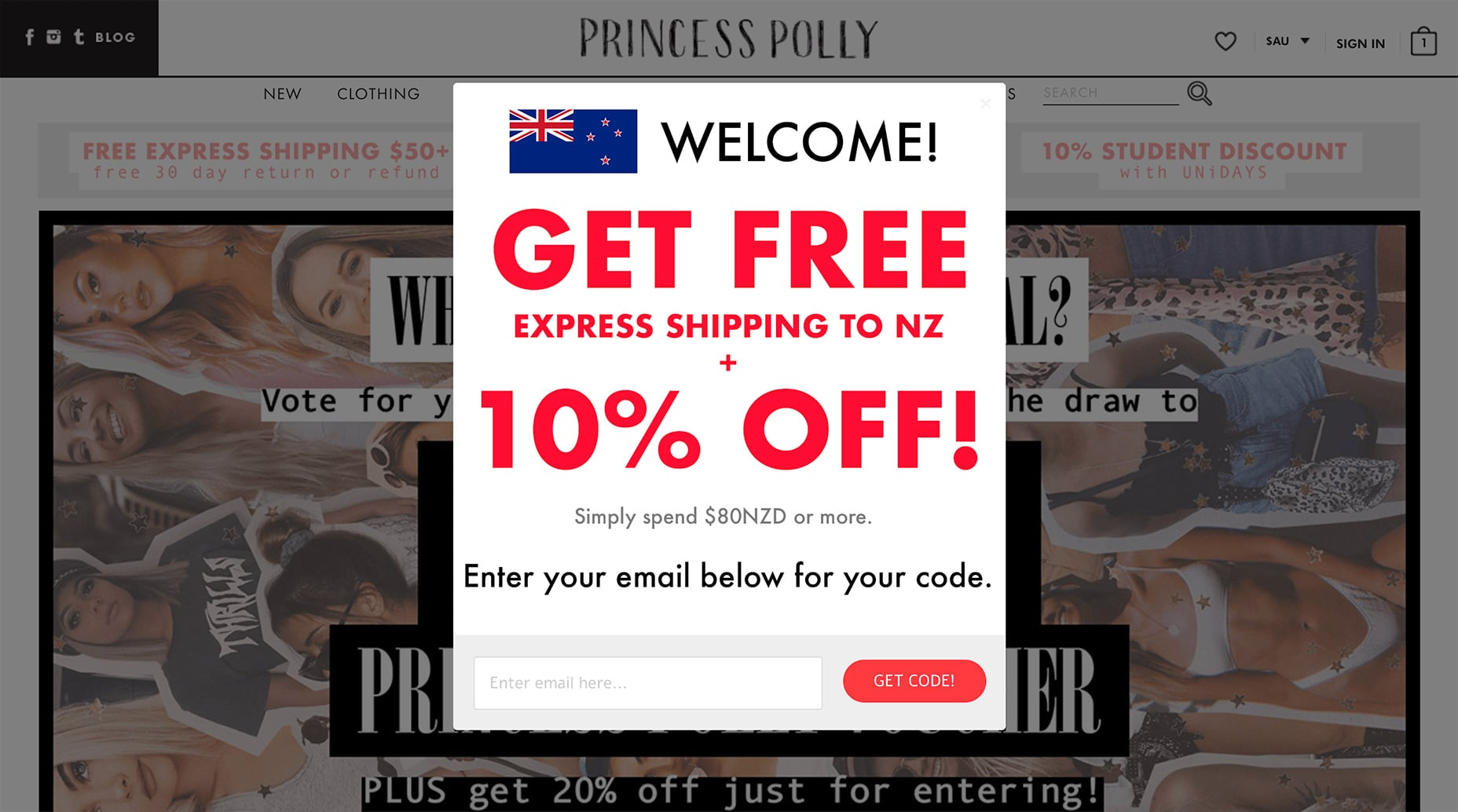 Princess Polly Exit Opt-in