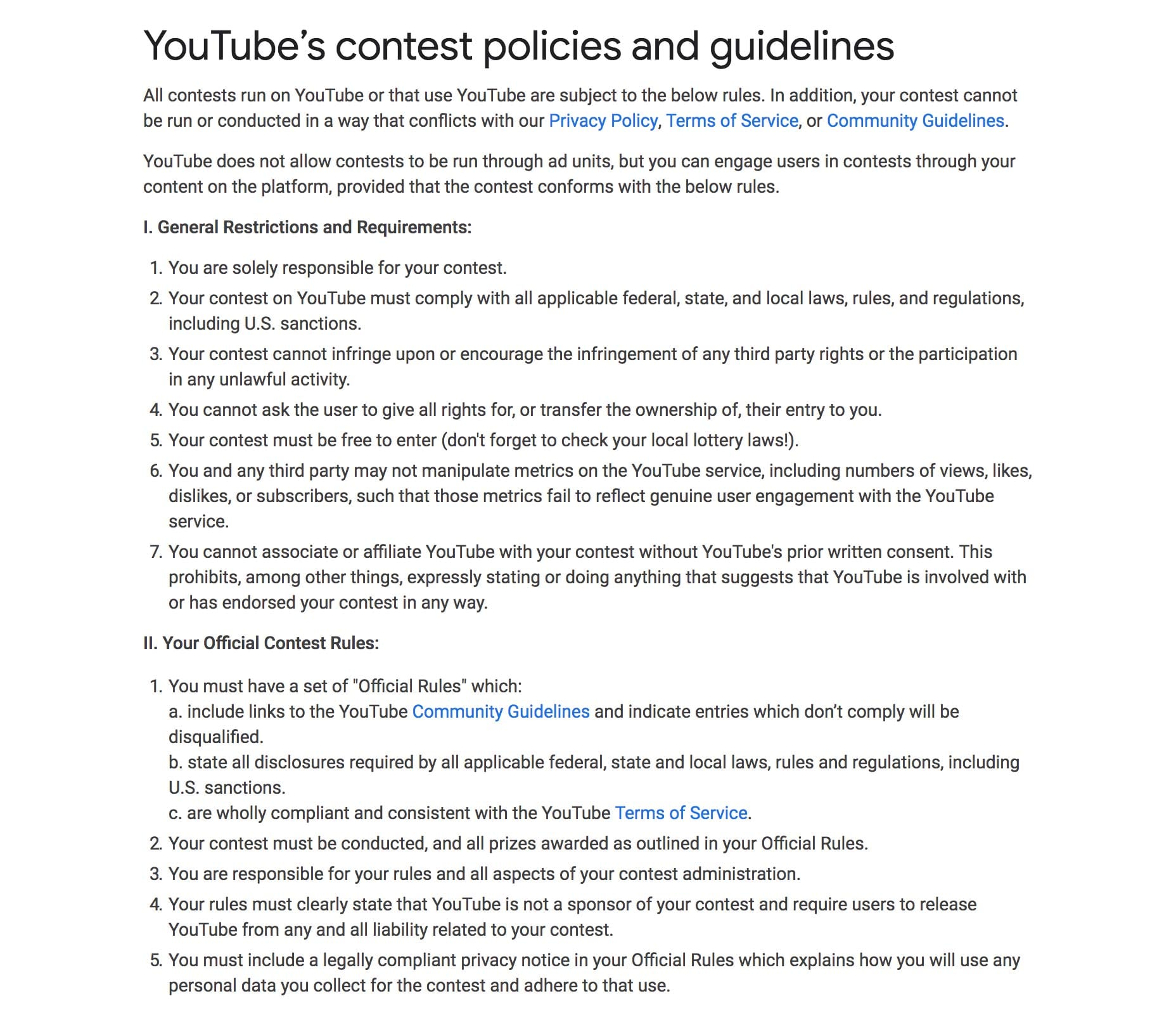 YouTube's contest promotional guidelines