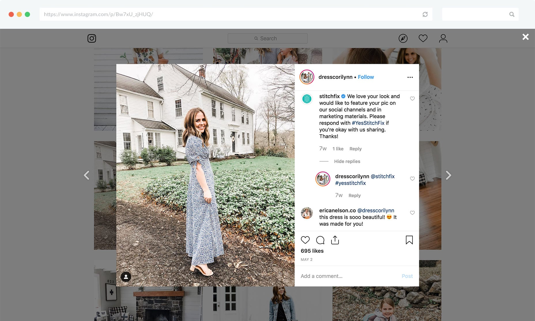 Ask customers if you can use their photos in Instagram comments