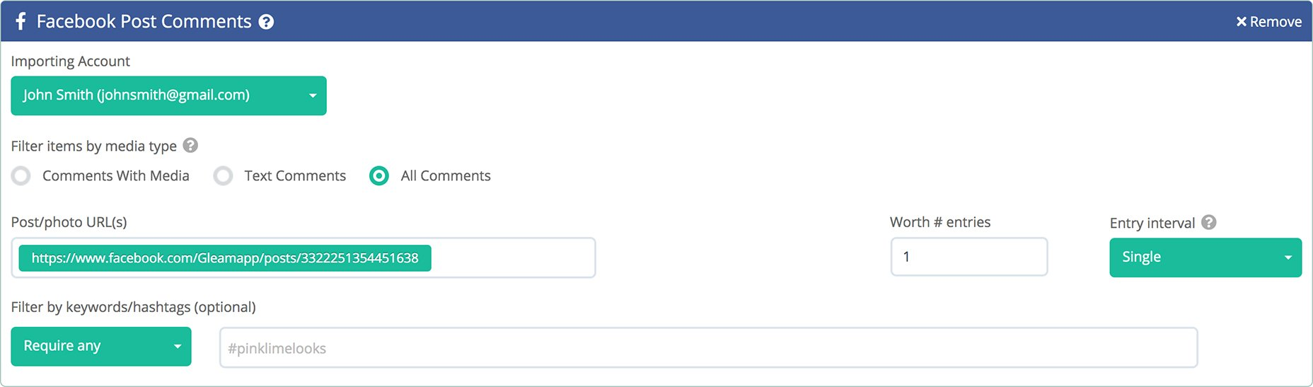 Gleam's Facebook Comment Import Action